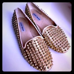 Spiked gold loafers
